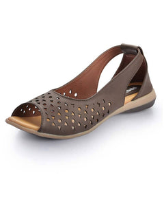Brown Solid Synthetic Leather Sandals