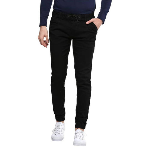 Black Solid Cotton Spandex Slim Fit Jogger
