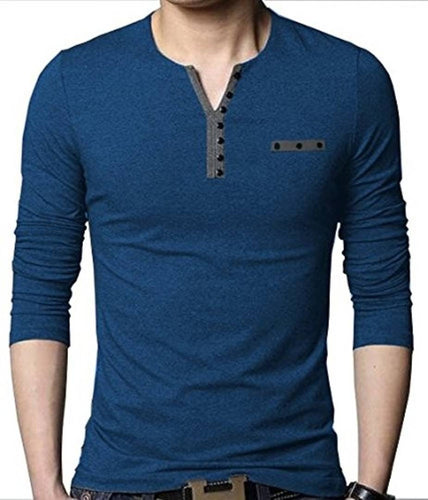 Seven Rocks Blue Trendy Cotton Henley T Shirt