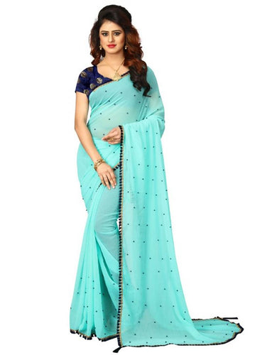 Skyblue Georgette Pearl Work Saree