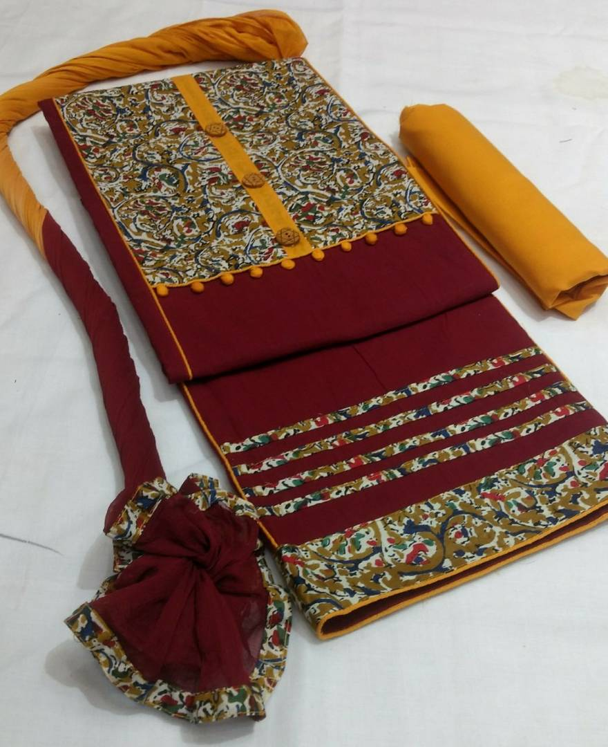 Stylish Handloom Cotton Print Patch Dress Material With Dupatta