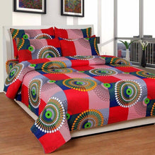 Load image into Gallery viewer, Multicoloured Polycotton Graphic Printed King Size Bedsheet With 2 Pillowcovers