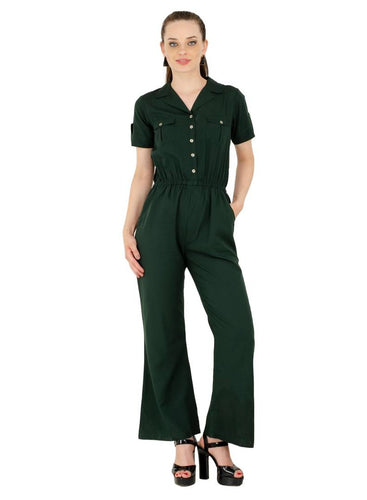 Women's Crepe Green Casual Jumpsuit