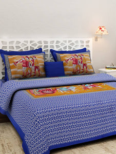Rajasthani Rational Print Blue King Size Bed Sheet With Two Pillow Cover
