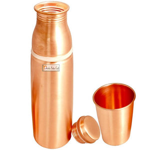 Copper Water Bottle 900 ML with Glass 250 ML, Lacquer Coated, Drinkware Set