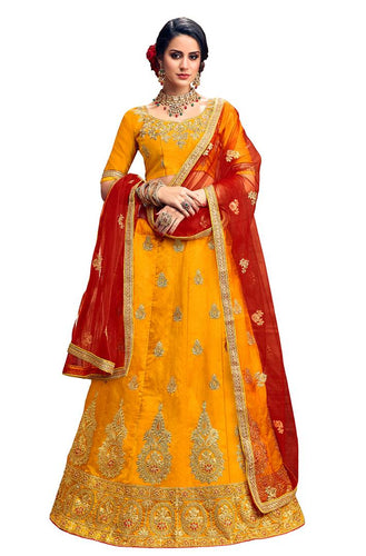 Women's Yellow Embroidered Silk Semi Stitched Lehenga Choli