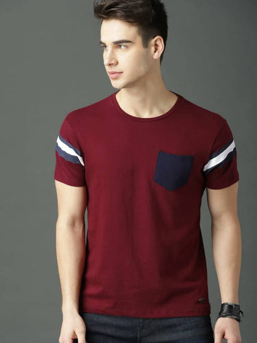 Men's Maroon Self Pattern Cotton Round Neck Tees