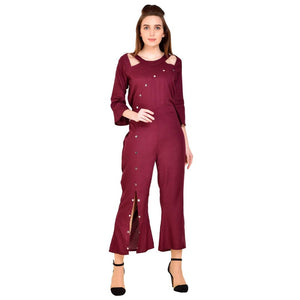Solid Bellsleeve Jumpsuit For Women