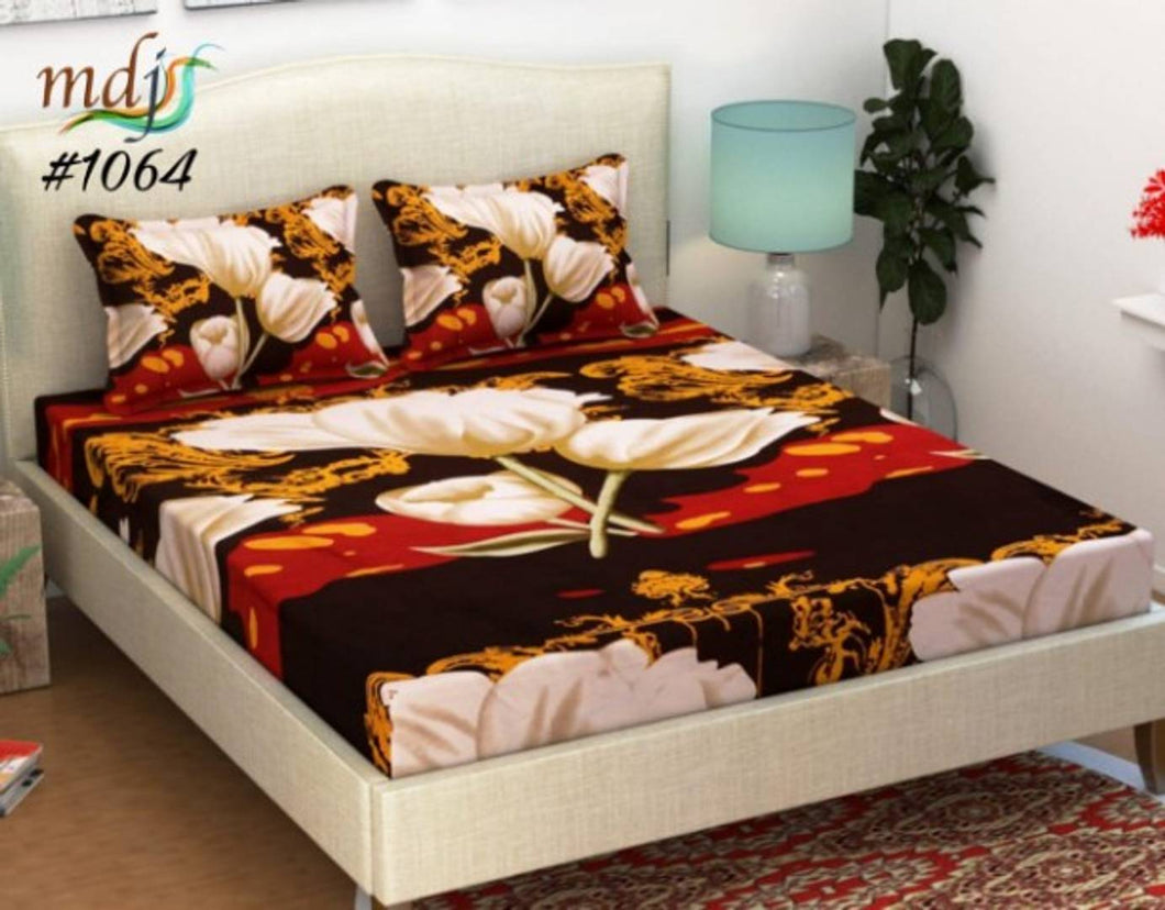 Polycotton Double Bed Sheet With 2 Pillow covers