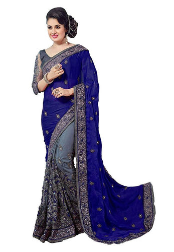 Trendy Navy Blue Georgette Embroidered Saree with Blouse piece