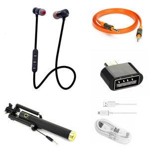 Combo Of Bluetooth Headset, Black Selfie Stick, Aux Cable, OTG & Data Cable
