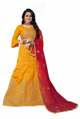Yellow Embroidered Silk Blend Lehenga Choli With Dupatta
