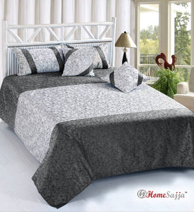 Dainty Velvet Double Bedsheet with Pillow & Cushion Covers (5 Pieces)
