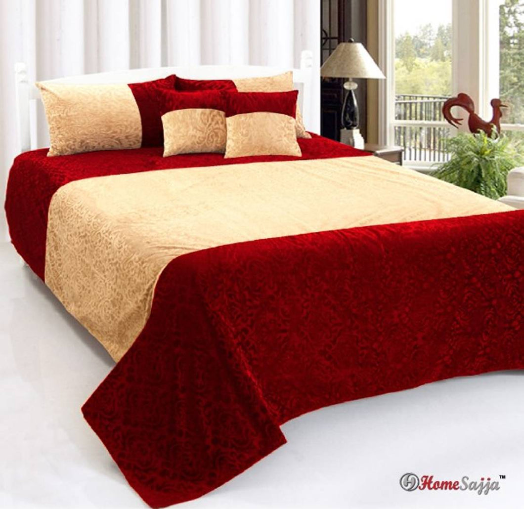Comfortable Velvet Double Bedsheet With Pillow And Cushion Covers(5 Pieces)