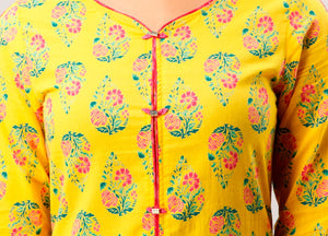 Cotton Floral Print A-Line Kurta With Palazzo Set In Yellow