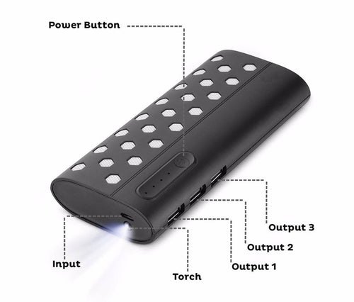 Star13k 13000mAH Lithium Ion Power Bank with Led Torch and 3 USB Port (Black)
