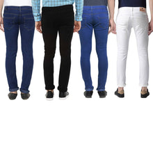 Load image into Gallery viewer, Men's Multicoloured Denim Solid Slim Fit Jeans (Pack of 4)