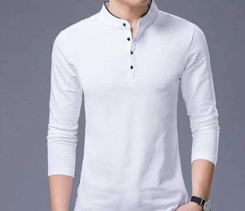 Men's White Cotton Solid T-Shirt