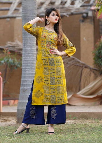 Women's Golden Rayon Stitched Printed Salwar Suit Set