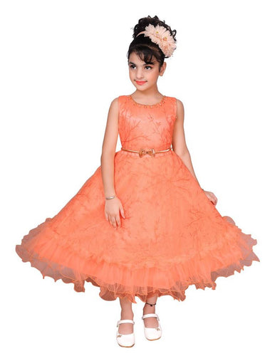 Peach Embroidered Frocks For Girl's