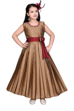Load image into Gallery viewer, Girls Solid Golden Silk Blend Frocks