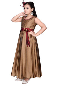 Girls Solid Golden Silk Blend Frocks
