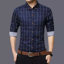 Load image into Gallery viewer, Men's Navy Blue Cotton Long Sleeves Checked Slim Fit Casual Shirt