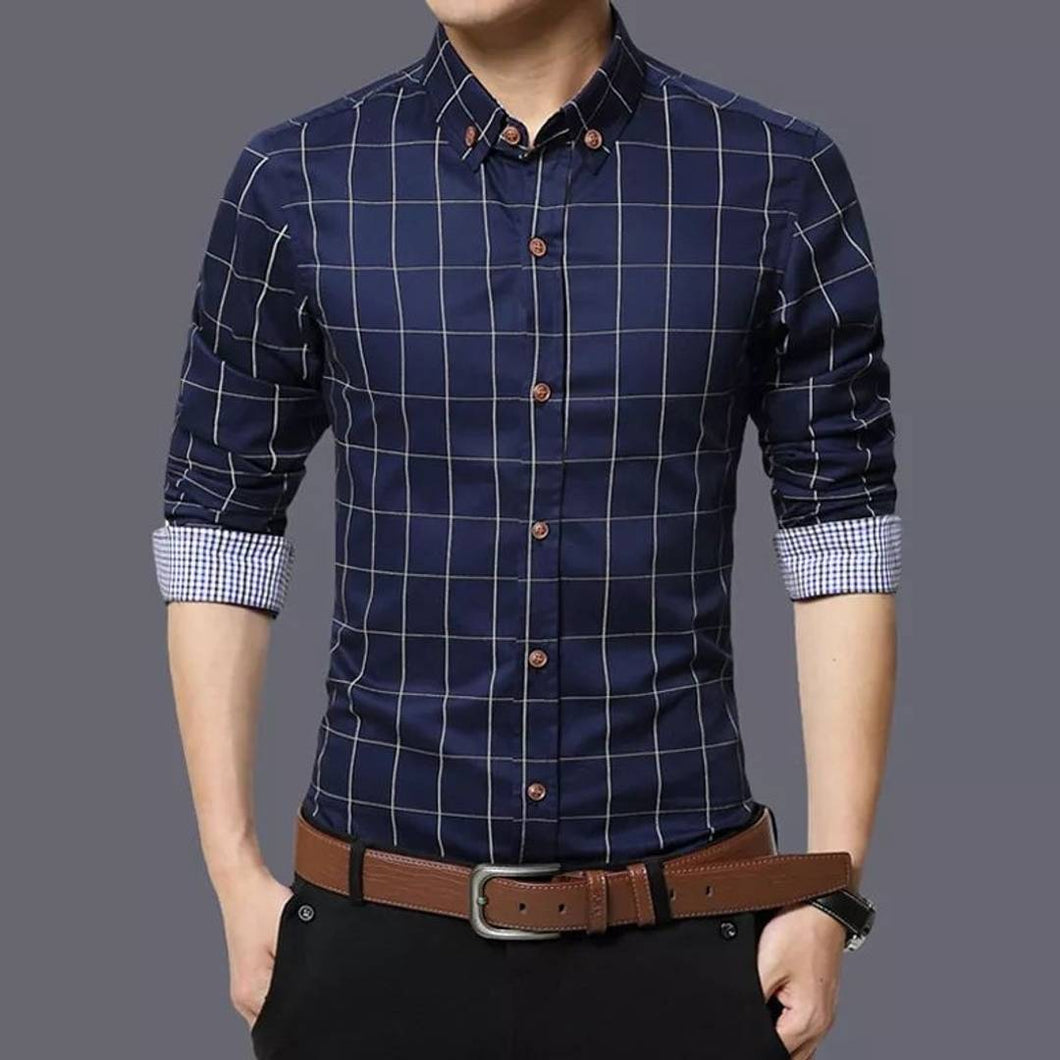 Men's Navy Blue Cotton Long Sleeves Checked Slim Fit Casual Shirt