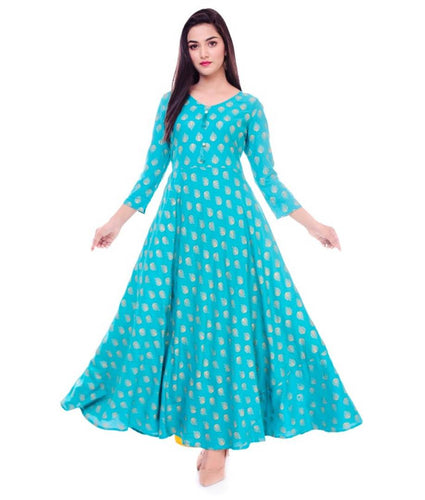Women's Green  Rayon Printed Long Gown