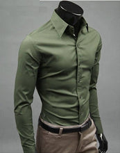 Load image into Gallery viewer, Men's Olive Cotton Solid Long Sleeves Regular Fit Formal Shirt