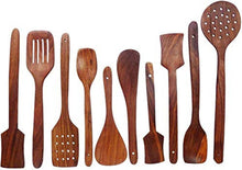 Load image into Gallery viewer, Sheesham Wood Cutlery Spoon Set (Pack of 10)