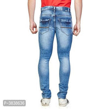 Load image into Gallery viewer, Men Blue Slim Fit Mid-Rise Clean Look Stretchable Jeans
