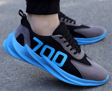Load image into Gallery viewer, Men's Blue Mesh Self Design Sports Shoes
