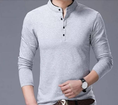 Men's Grey Cotton Solid Mandarin Tees