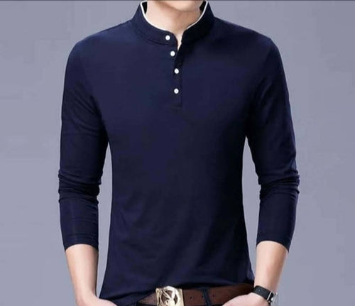 Men's Navy Blue Cotton Solid Mandarin Tees