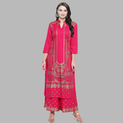 Elegant Pink Rayon Printed Kurta And Palazzo Set
