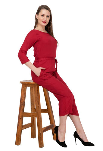 Women's Maroon Rayon Self Pattern Basic Jumpsuit