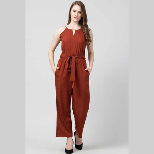 Stylish Crepe Solid Basic Jumpsuit For Women