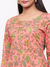 Load image into Gallery viewer, Adorable Peach Cotton Printed Anarkali Long Gown