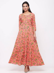 Adorable Peach Cotton Printed Anarkali Long Gown