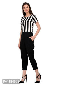 Stylish Black & White Crepe Striped Jumpsuit For Women