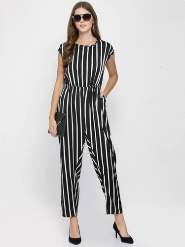Stylish Black & White Striped Crepe Jumpsuit For Women