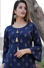 Load image into Gallery viewer, Stylish Gold Printed Rayon Kurta and  Sharara set