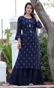 Stylish Gold Printed Rayon Kurta and  Sharara set