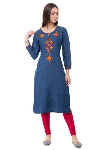 Stylish Embroidered Denim Straight Kurta