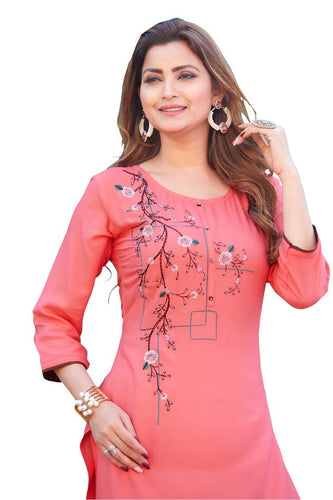 Women's Beautiful Pink Embroidered Rayon Straight Kurta