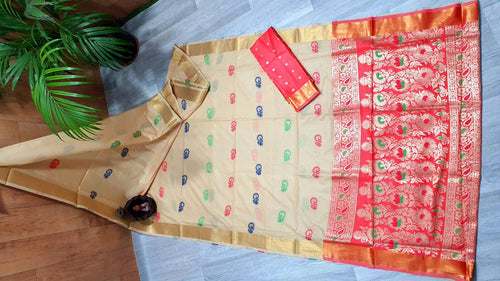 Trendy Chanderi Cotton Silk Jacquard Saree With Running Cotton Silk Blouse Piece