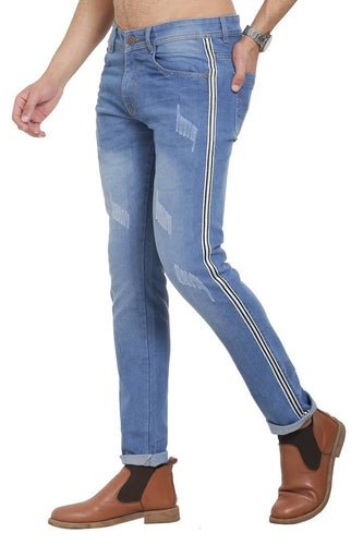 Blue Polycotton Striped Regular Fit Mid-Rise Jeans