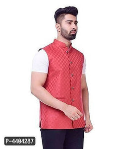 TRANOLI Fashionable Red Jute Checked Waistcoat For Men