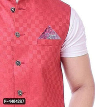 Load image into Gallery viewer, TRANOLI Fashionable Red Jute Checked Waistcoat For Men